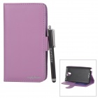 Flip Open Case + Stylus Pen Set for Samsung Galaxy Note 3 / N9000 / N9002 / N9005 / N9006 - Purple