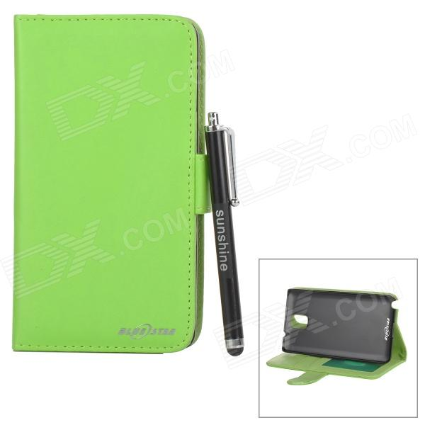 Flip Open PU Case + Stylus Pen Set for Samsung Galaxy Note 3 / N9000 / N9002 / N9005 / N9006 - Green 20m waterproof bag case for 5 7 cell phone samsung galaxy note 3 n9000 white