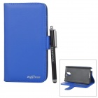 Flip Open PU Case + Stylus Pen Set for Samsung Galaxy Note 3 / N9000 / N9002 / N9005 / N9006 - Blue