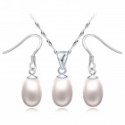 EQute Women's Fashionable S925 Sterling Silver Natural Pearl Pendant Necklace + Earrings Set - White