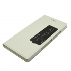 Protective Flip Open PU Case w/ Stand + Display Window + Auto-sleep for Huawei Ascend P7 - White
