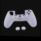A-M06 Protective Silicone Case + Button Cap Set for PS4 Controller - Transparent