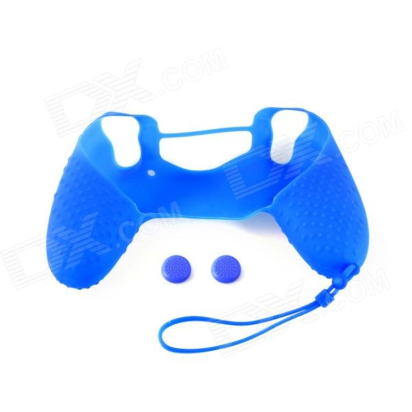 A-M09 Anti-Slip Silicone Case + Button Cap Set for PS4 Controller - Blue