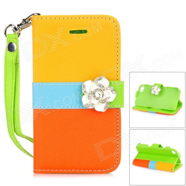 Camellia Pattern Protective PU Leather Case for IPHONE 4 / 4S - Yellow + Orange + Blue remax protective flip open pu leather case w visual window for iphone 4 4s white