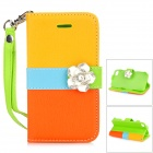 Camellia Pattern Protective PU Leather Case for IPHONE 4 / 4S - Yellow + Orange + Blue