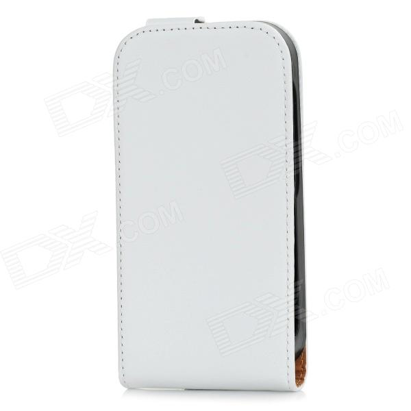 Protective Flip-open Split Cow Leather Case for MOTO E - White