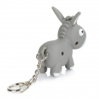 Cartoon Donkey Shaped Light & Sound Keychain - Grey + White (3 x AG10)