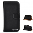 Protective Flip-open Split Cow Leather Case for MOTO E - Black