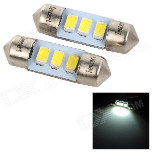 SENCART SV8.5-8 1W 40lm 6500K 5730 SMD LED White Light Car Roof / Reading Lamp (2PCS / DC 12~16V) sencart sv8 5 8 1w 40lm 9500k 5730 smd led cool white light car roof reading lamp 2pcs dc12 16v