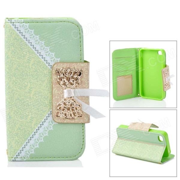 Lace Pattern Protective PU Leather Case for IPHONE 4 / 4S - Light Green remax protective flip open pu leather case w visual window for iphone 4 4s white