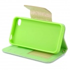 Lace Pattern Protective PU Leather Case for IPHONE 4 / 4S - Light Green