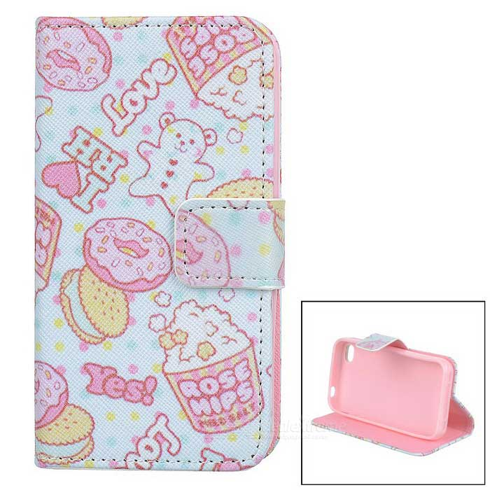 Cake / Biscuit Style Protective Flip-open PU Leather Case w/ Stand for IPHONE 4 / 4S - White + Pink protective pu leather flip open case for iphone 4 4s black
