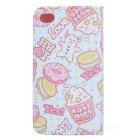 Cake / Biscuit Style Protective Flip-open PU Leather Case w/ Stand for IPHONE 4 / 4S - White + Pink