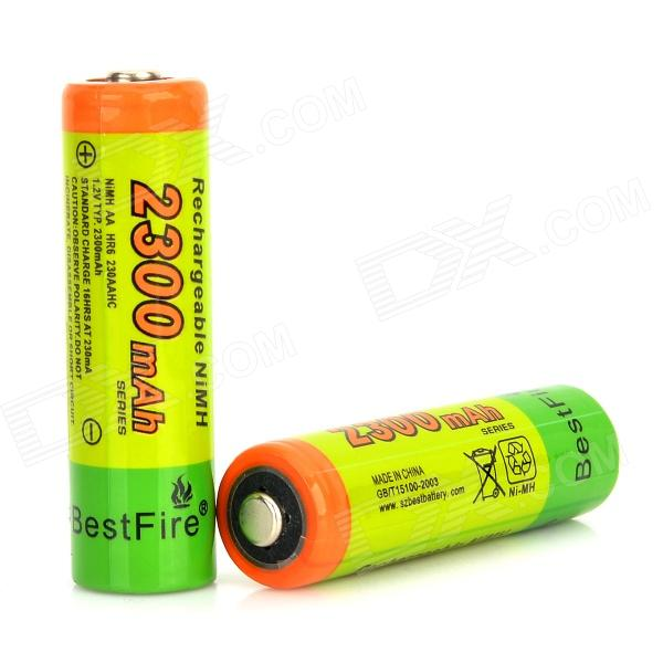 BestFire 1.2V 2150mAh Ni-MH Rechargeable AA Batteries - Green + Blue (2 PCS) аккумуляторы hr06 aa duracell ni mh 1300 mah 2шт