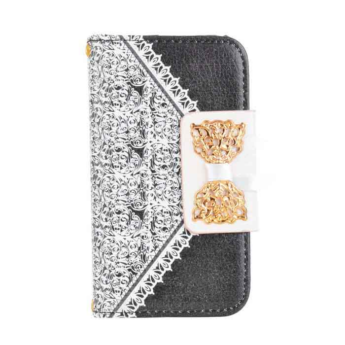 Lace Pattern Protective PU Leather Case for IPHONE 4 / 4S - White + Black remax protective flip open pu leather case w visual window for iphone 4 4s white