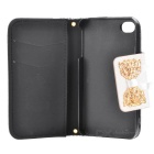 Lace Pattern Protective PU Leather Case for IPHONE 4 / 4S - White + Black