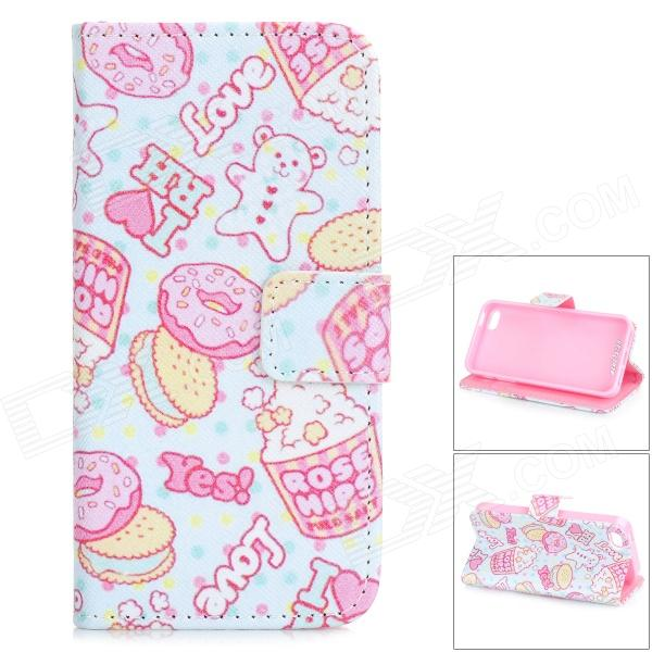 Cake / Biscuit Pattern Protective PU Leather Case w/ Holder for IPHONE 5 / 5S - White + Pink