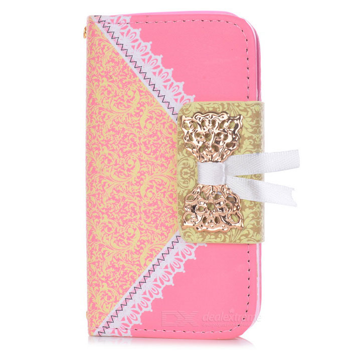 Lace Pattern Protective Flip-open PU Leather Case for IPHONE 4 / 4S - Dark Pink protective pu leather flip open case for iphone 4 4s black