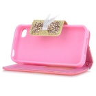 Lace Pattern Protective Flip-open PU Leather Case for IPHONE 4 / 4S - Dark Pink