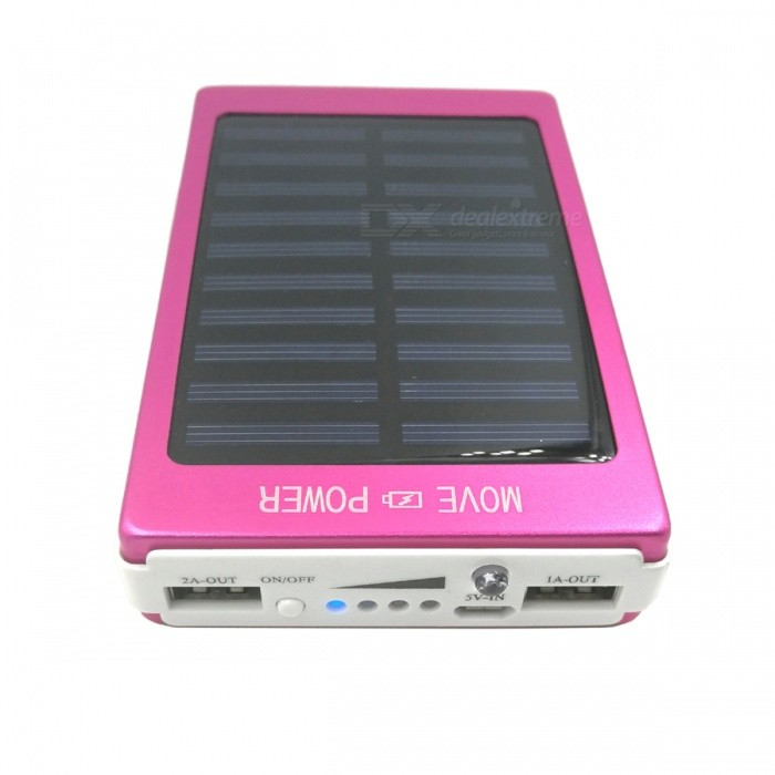 Portable Universal Solar Powered 16000mAh Dual USB Li-polymer Battery Power Bank - Red universal 20000mah portable li polymer battery dual usb power bank green silver