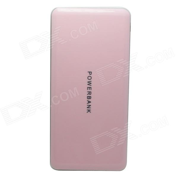 Portable Universal 8000mAh Li-polymer Battery Dual USB Power Bank - Pink + Silver universal 20000mah portable li polymer battery dual usb power bank green silver