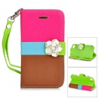 Camellia Pattern Protective PU Leather Case for IPHONE 4 / 4S - Deep Pink + Blue + Brown