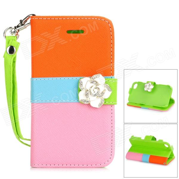 Camellia Style Protective PU Leather Case for IPHONE 4 / 4S - Orange + Blue + Pink remax protective flip open pu leather case w visual window for iphone 4 4s white