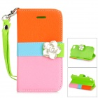 Camellia Style Protective PU Leather Case for IPHONE 4 / 4S - Orange + Blue + Pink