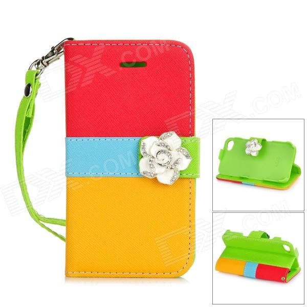 Camellia Style Protective PU Leather Case for IPHONE 4 / 4S - Red + Blue + Yellow remax protective flip open pu leather case w visual window for iphone 4 4s white