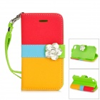 Camellia Style Protective PU Leather Case for IPHONE 4 / 4S - Red + Blue + Yellow