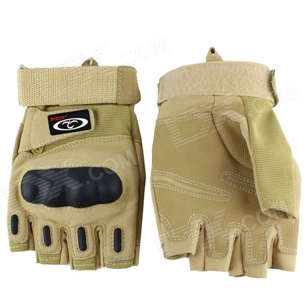 OUMILY Outdoor Half-Finger Tactical Gloves for War Game - Khaki (Pair / Size XL)