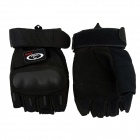OUMILY Outdoor Half-Finger Tactical Gloves for War Game - Black (Pair / Size XL)