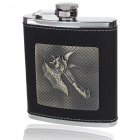 HONEST Stainless Steel + Leather Pocket Liquor Flask with Funnel (199ml)