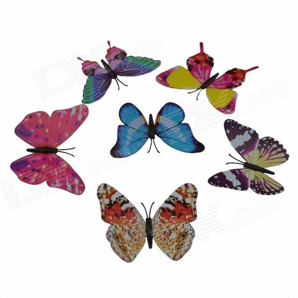 Glow-in-the-dark Magnetic Decorative Butterfly Sticker - Multicolored (6 PCS)