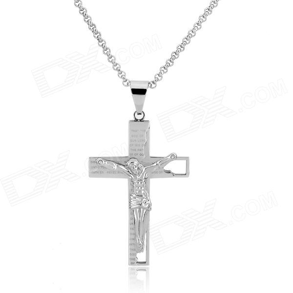 KCCHSTAR Cross Style 316L Stainless Steel Pendant Necklace - Silver diy fashionable retro style 316l stainless steel angel shaped necklace pendant silver