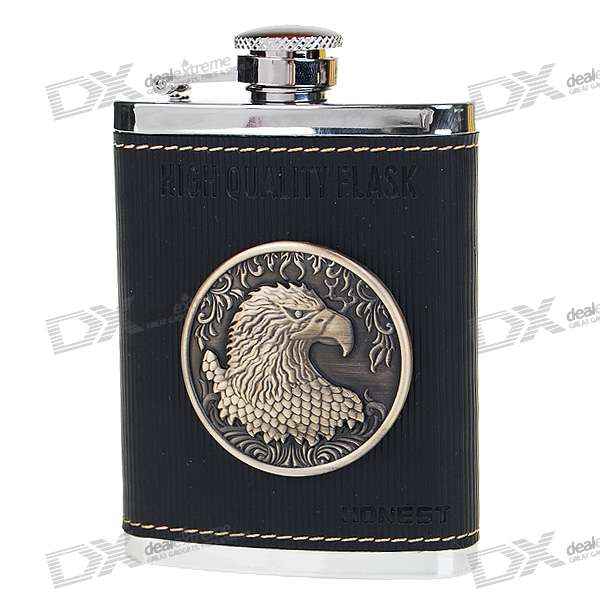 HONEST Stainless Steel + Leather Pocket Liquor Flask with Funnel (114ml)