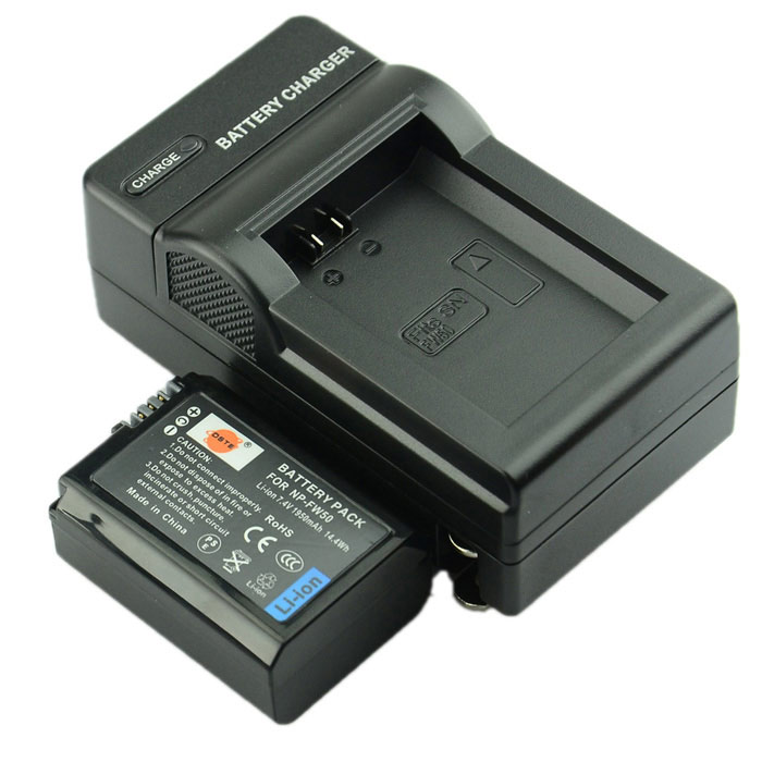 DSTE NP-FW50 Battery + Charger for Sony NEX3C NEX-5C A55 NEX6 Camera - Black sony np bg1 battery