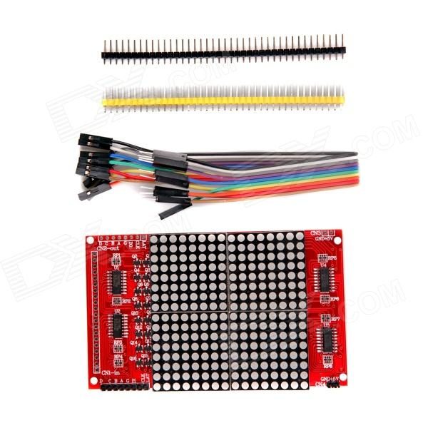 16 x 16 LED Dot-Matrix w/ Dupont Cables / Pin Headers for Arduino - Red