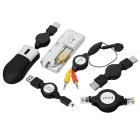 6-in-1 Travel-Easy USB Cable/USB Hub/Network RJ45/Mini Mouse/Earphone Kit