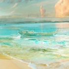 "Iarts DX0718-1 Hand-painted ""Landscape Waves on Beach of Cayman Island"" Oil Painting - Light Blue"