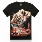 Men's 3D Printing Leopard Head Patterned Short Sleeves Cotton T-shirt - Black + Multi-colored (L)