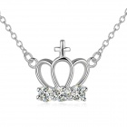 Women's Fashionable Crown Style Rhinestone Studded Silver-Plated Pendant Necklace - Silver