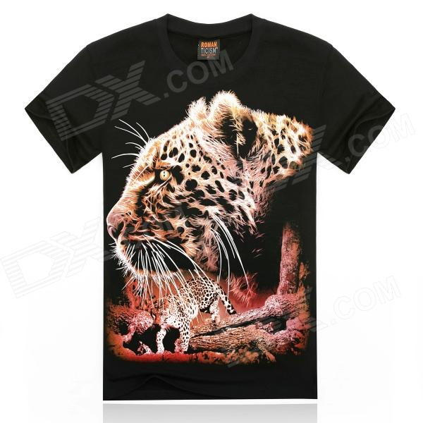 Men's 3D Printing Leopard Head Patterned Short Sleeves Cotton T-shirt - Black + Multi-colored (XXL)