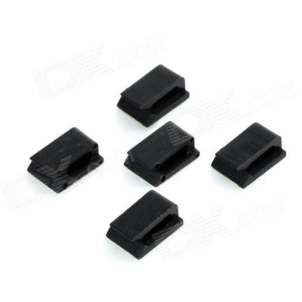 Car Wire Cable Clip Fixed Mount with Adhesive Tape - Black (5 PCS)