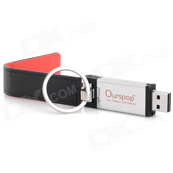 Ourspop U611 Stylish PU Leather Cover USB 2.0 Flash Drive w/ Keychain - Black + Red (64GB) ourspop u611 stylish usb 2 0 flash drive w pu cover black red 2gb