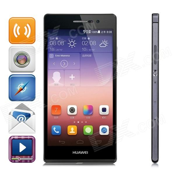 HUAWEI Ascend P7 Android OS 4.4 Quad-core Bar Phone w/ 5.0, 13MP Camera, RAM 2GB, ROM 16GB - Black huawei ascend p7 android os 4 4 quad core bar phone w 5 0 13mp camera ram 2gb rom 16gb black