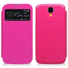 Protective Flip Open PU Case Cover w/ Window + Auto-sleep for Samsung Galaxy S4 9500 - Dark Pink