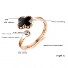 Women's Fashionable Lucky Four-leaf Clover Style Ring - Rose Gold + Black (US Size: 6)