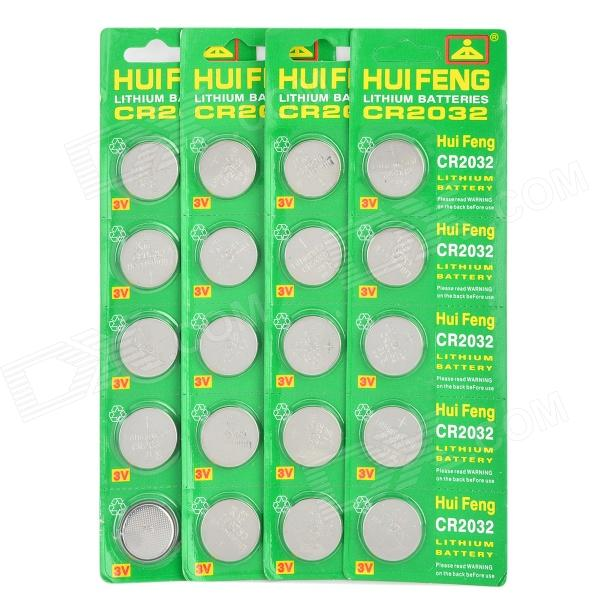 HUIFENG 3V Lithium CR2032 Cell Button Batteries - Green + Grey (20 PCS) goop cr2032 3v lithium cell button batteries 50 pcs