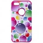 Colorful Bubble Pattern Protective Silicone Back Case Cover for IPHONE 5 / 5S - Dark Pink + Yellow